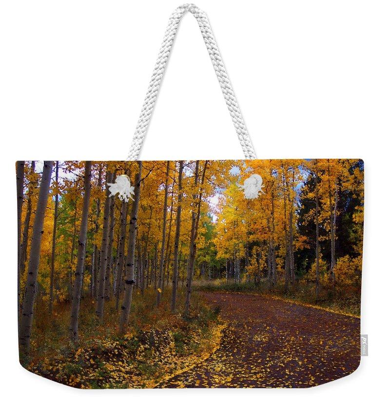 Aspen Trees Weekender Tote Bag featuring the mixed media Aspen Lane by Carol Cavalaris