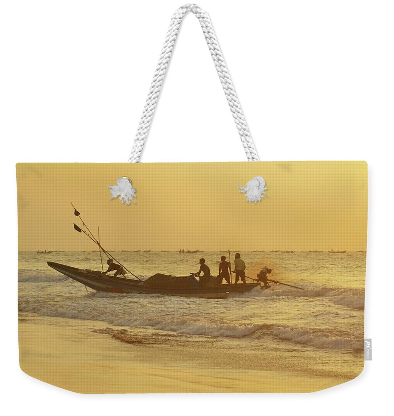 India Weekender Tote Bag featuring the photograph At Dawn In Puri by Valerie Rosen