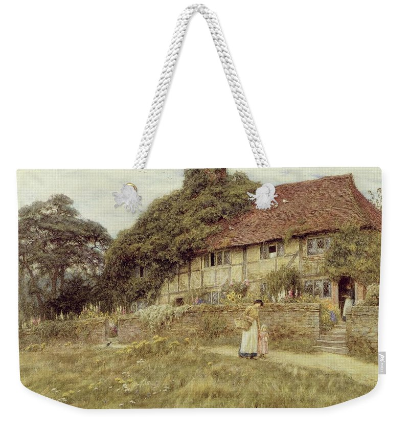 Female; Gate; Rural Scene; Country; Countryside; Home; Path; Garden; Wildflowers; Roses; Picturesque; Idyllic; Timber Frame; Half-timbered; House; Cottage; Mother And Child; Sunflowers; Daughter; Female Weekender Tote Bag featuring the painting At Stedham Near Midhurst by Helen Allingham