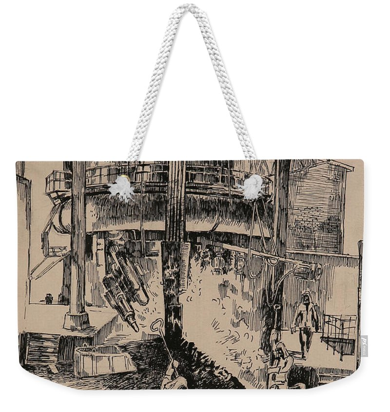 Metallurgical Furnace Weekender Tote Bag featuring the drawing At The Blast Furnace by Ylli Haruni