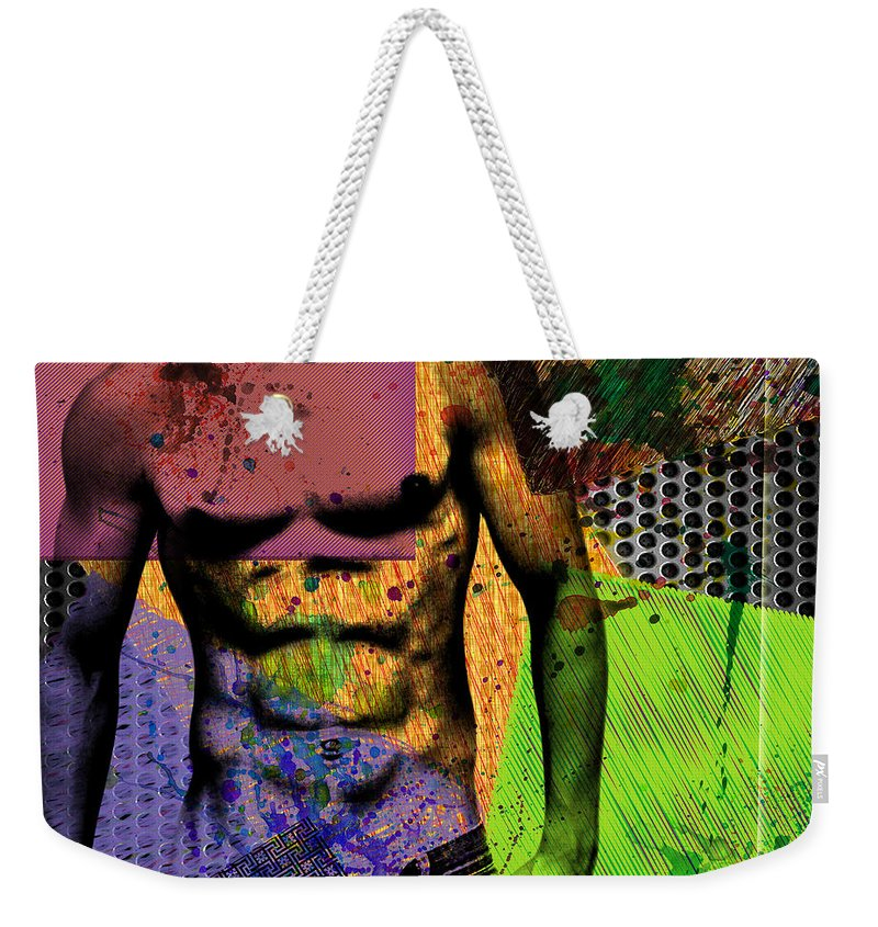 Male Nude Art Weekender Tote Bag featuring the digital art At The Right Mood by Mark Ashkenazi