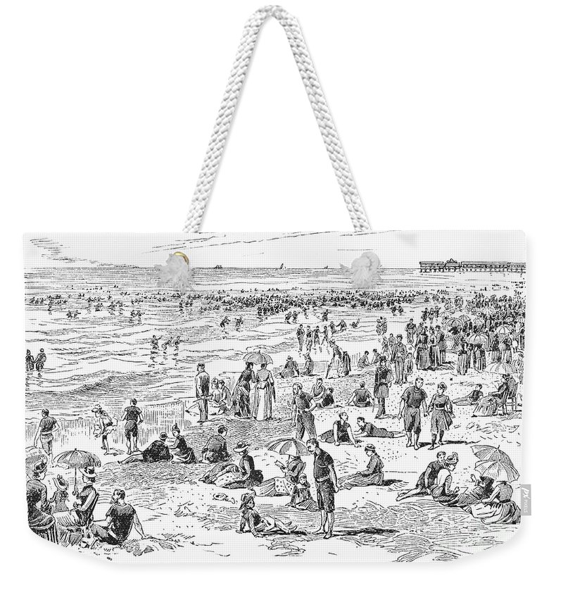 1890 Weekender Tote Bag featuring the photograph Atlantic City, 1890 by Granger