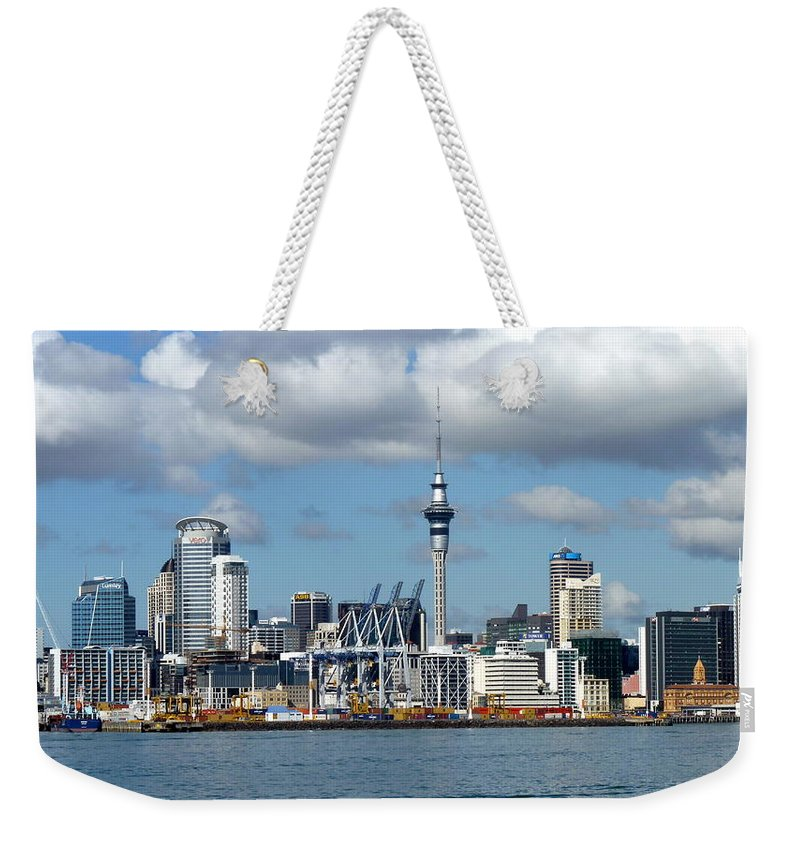 Auckland Weekender Tote Bag featuring the photograph Auckland Skyline by Carla Parris