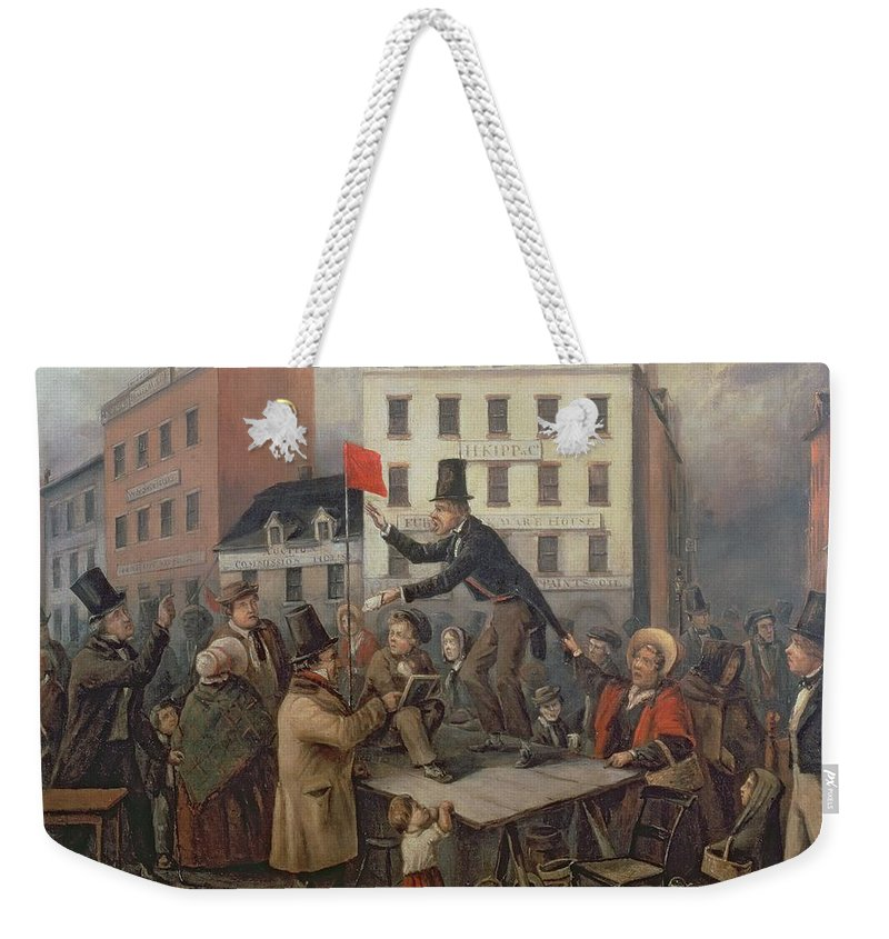 Auction In Chatam Street Weekender Tote Bag featuring the painting Auction In Chatam Street by E Didier