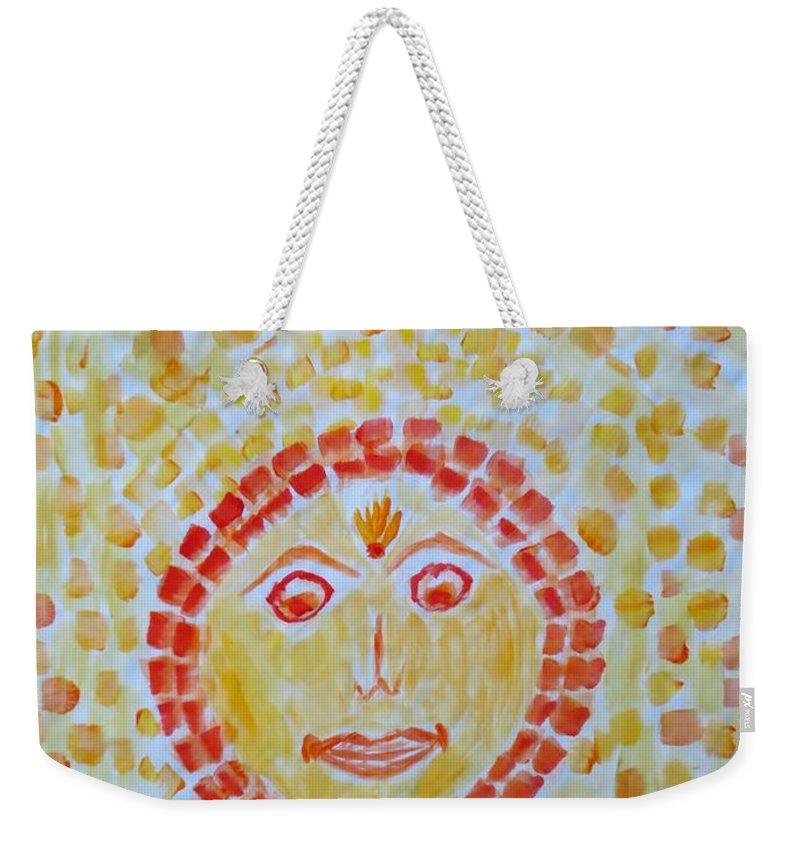 Dinkar Weekender Tote Bag featuring the painting Aum Aadityay Namah by Sonali Gangane