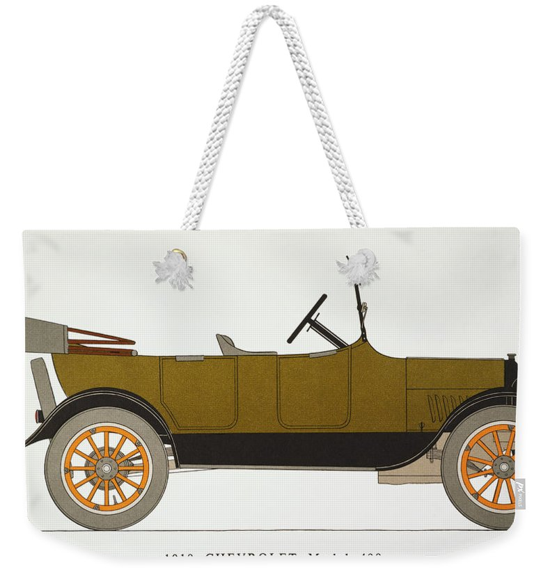 1919 Weekender Tote Bag featuring the photograph Auto: Chevrolet, 1919 by Granger