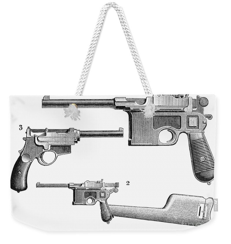 19th Century Weekender Tote Bag featuring the photograph Automatic Pistols by Granger
