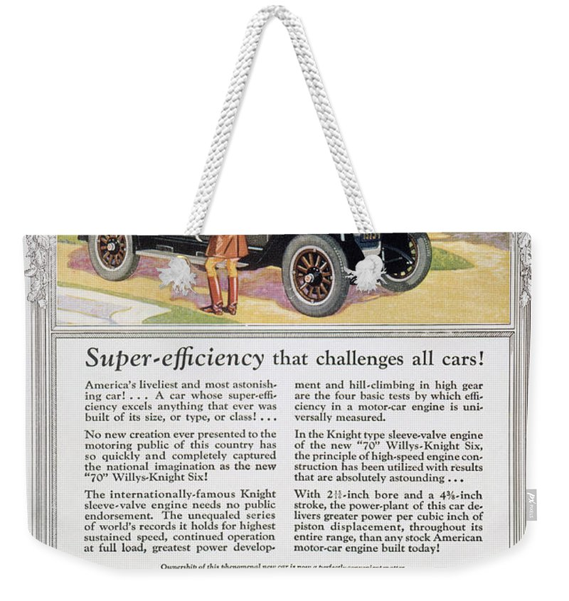 1926 Weekender Tote Bag featuring the photograph Automobile Ad, 1926 by Granger