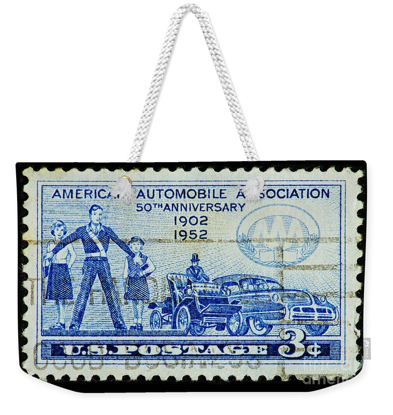 Postage Stamp Weekender Tote Bag featuring the photograph Automobile Association Of America by Andy Prendy