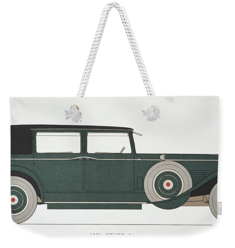 1929 Weekender Tote Bag featuring the photograph Automobile: Stutz, 1929 by Granger