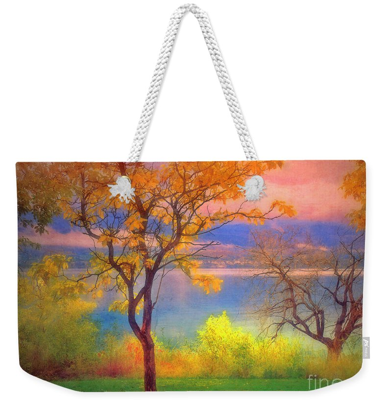 Lake Weekender Tote Bag featuring the photograph Autum Morning by Tara Turner