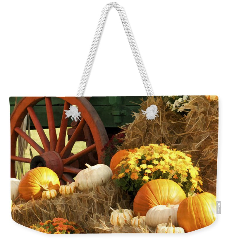 Buzz Weekender Tote Bag featuring the photograph Autumn Bounty Vertical by Kathy Clark
