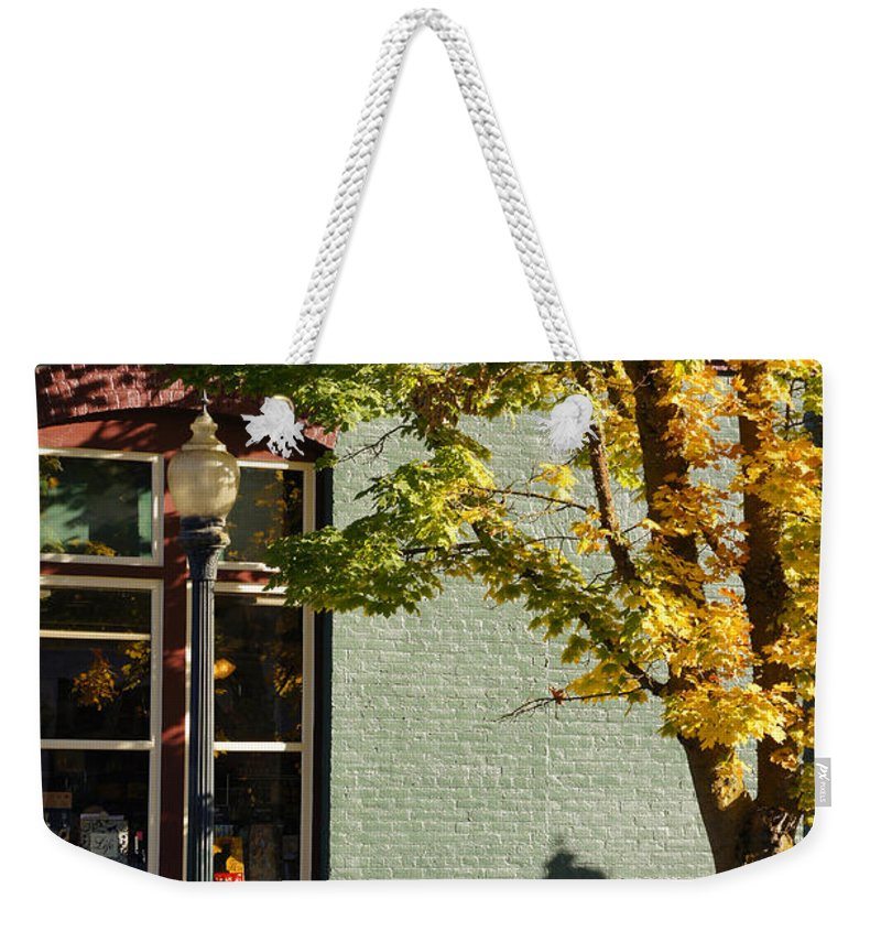 Grants Pass Weekender Tote Bag featuring the photograph Autumn Detail In Old Town Grants Pass by Mick Anderson