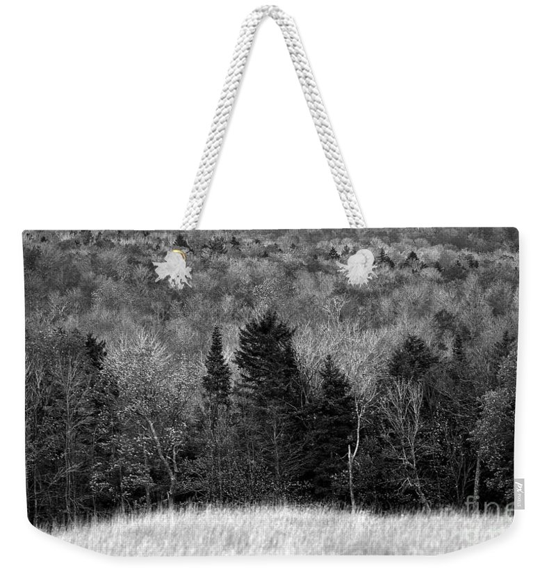 Autumn Weekender Tote Bag featuring the photograph Autumn Field Bw by Mike Nellums