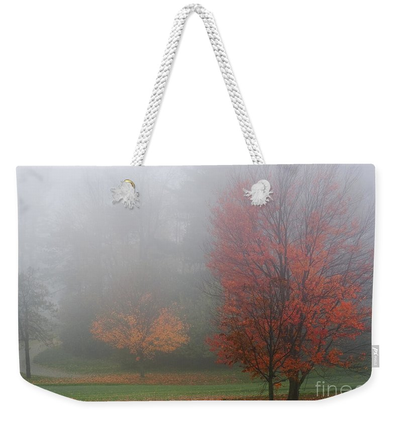 Photography Weekender Tote Bag featuring the photograph Autumn Fog by Barbara McMahon