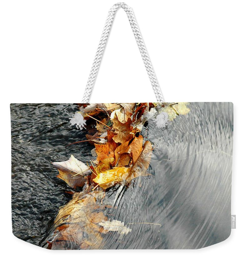 Autumn Weekender Tote Bag featuring the photograph Autumn Leaves Tiny Dam by Mike Nellums