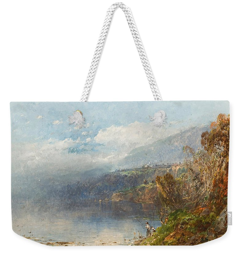 Autumn On The Androscoggin (oil On Canvas)fall; Seasons; Autumnal; River; North America; North American; Maine; New Hampshire; New England; Landscape; Mist; Misty; Wild; Wilderness; Remote; Male; Fisherman; Fishing; Solitary; Riverbank; Landscape Weekender Tote Bag featuring the painting Autumn On The Androscoggin by William Sonntag