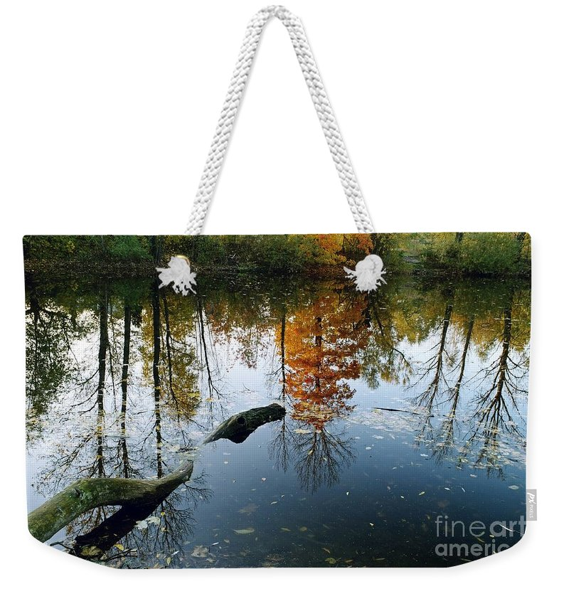 Colorful Weekender Tote Bag featuring the photograph Autumn Reflections by Dariusz Gudowicz
