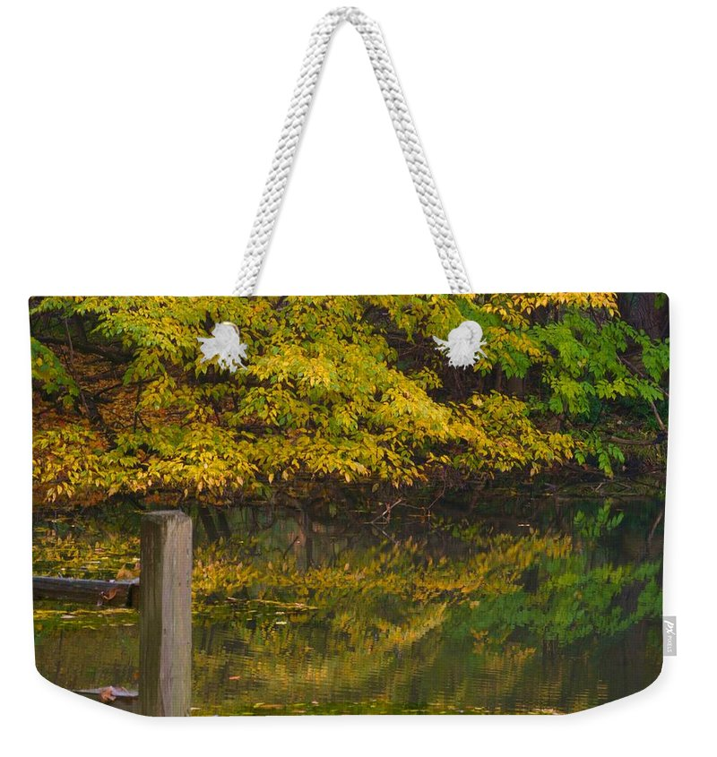 Autumn Weekender Tote Bag featuring the photograph Autumn Reflections_0138 by Michael Peychich