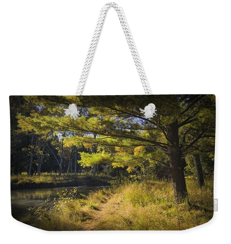 Art Weekender Tote Bag featuring the photograph Autumn Scene Of The Little Manistee River In Michigan No. 0882 by Randall Nyhof