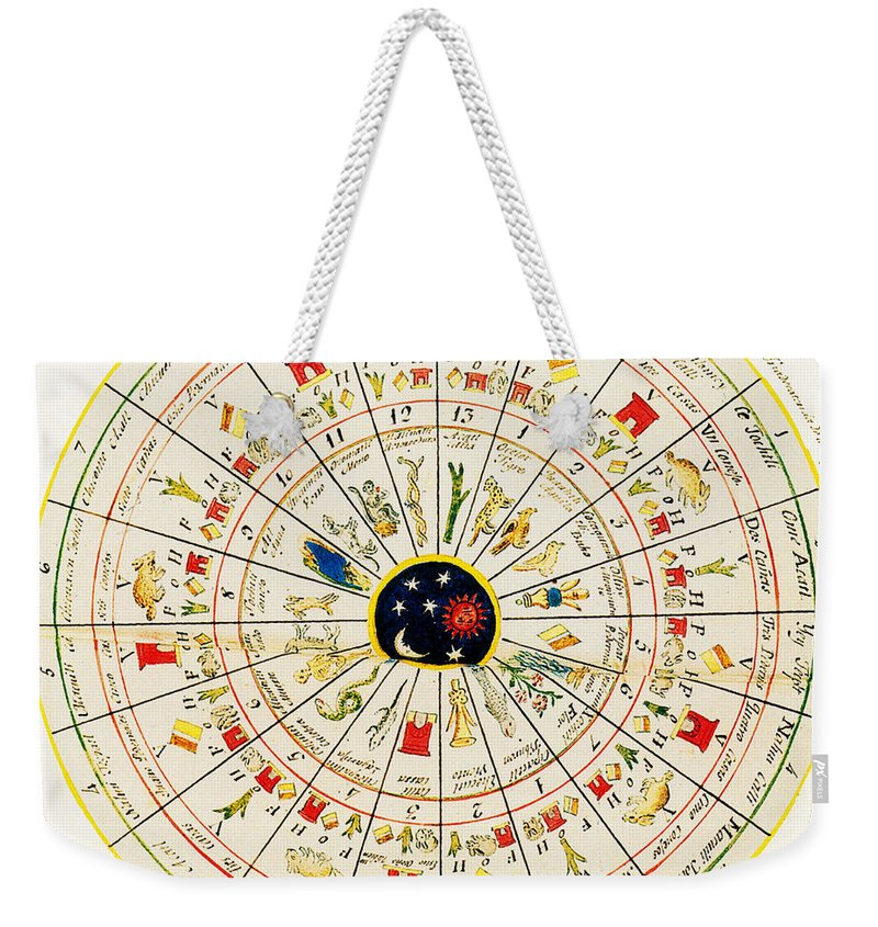 History Weekender Tote Bag featuring the photograph Aztec Calendar Wheel by Science Source