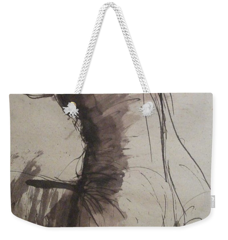 Back Weekender Tote Bag featuring the painting Back Torso - Sketch Of A Female Nude by Carmen Tyrrell