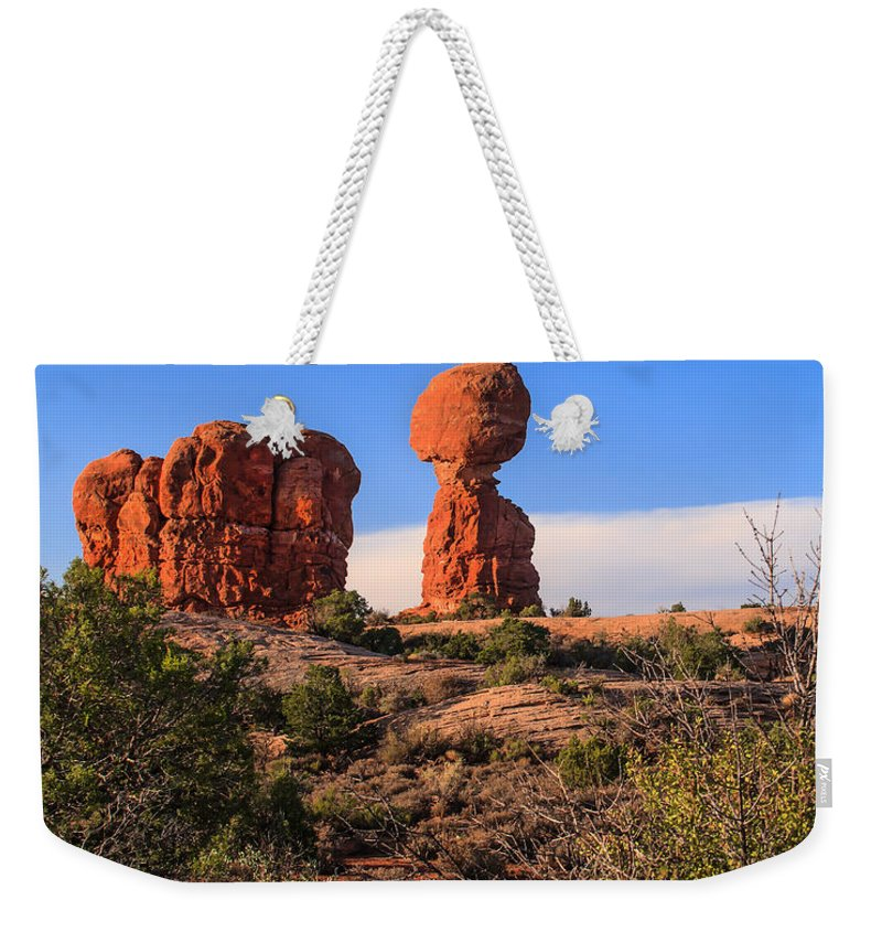 Balance Weekender Tote Bag featuring the photograph Balance Rock I by Robert Bales