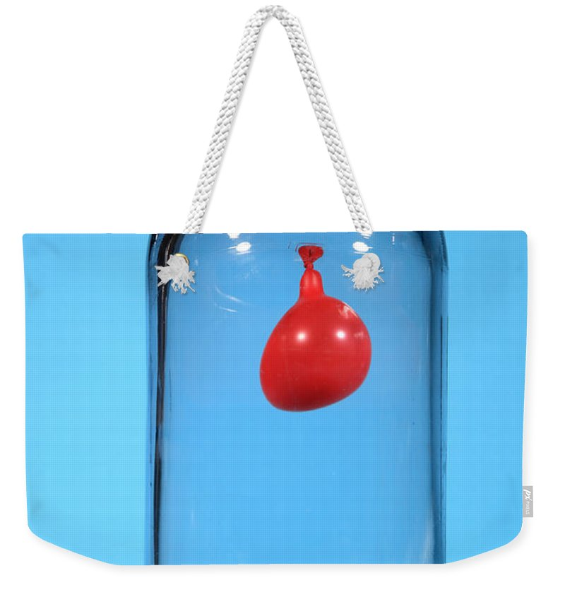 Vacuum Weekender Tote Bag featuring the photograph Balloon In A Vacuum, 1 Of 6 by Ted Kinsman