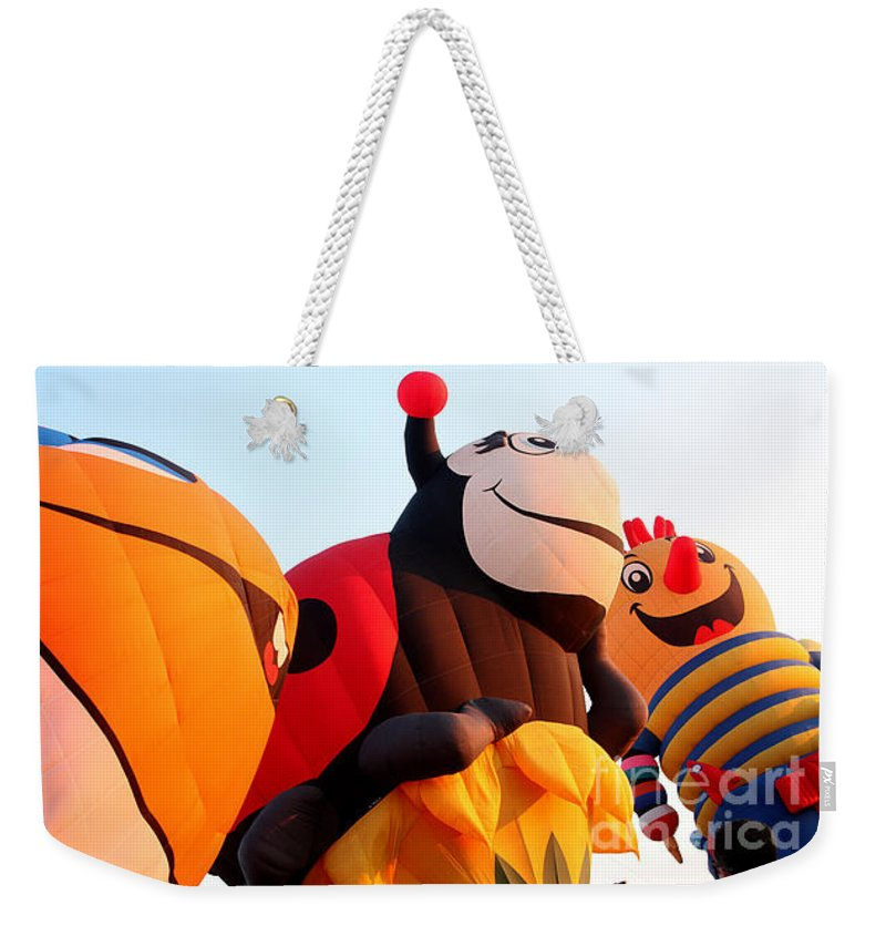 Hot Air Balloons Weekender Tote Bag featuring the photograph Balloon-nemo-ladybug-jack-7648 by Gary Gingrich Galleries