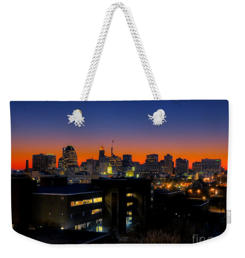Hdr Photograph Weekender Tote Bag featuring the photograph Baltimore At Sunset by Mark Dodd