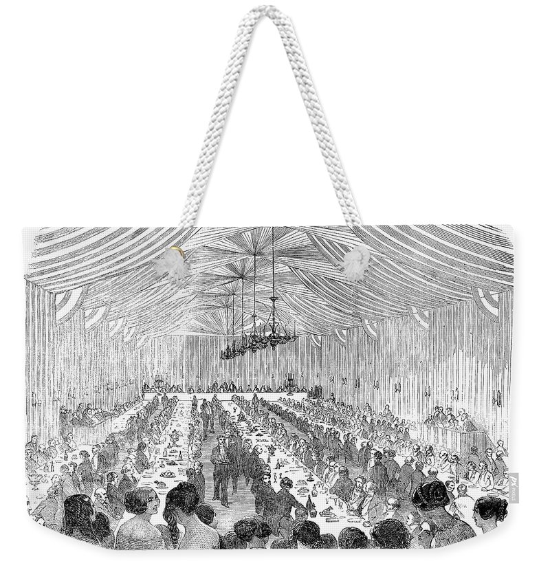 1851 Weekender Tote Bag featuring the photograph Banquet, 1851 by Granger