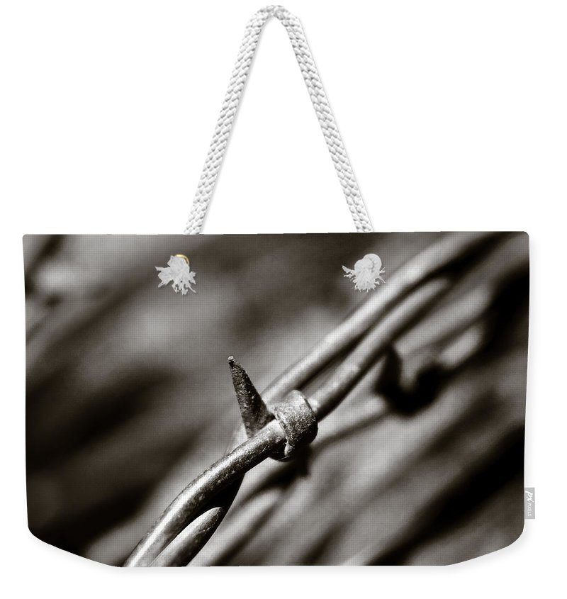 Barbbed Wire Weekender Tote Bag featuring the photograph Barbbed Wire 1 by Sean Wray