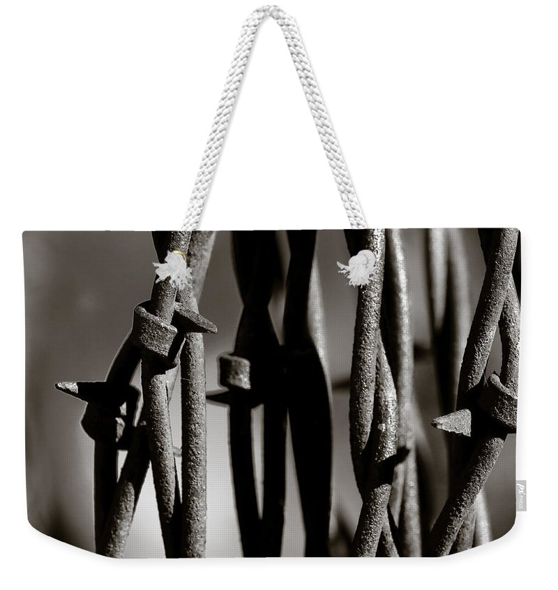 Barbbed Wire Weekender Tote Bag featuring the photograph Barbbed Wire 2 by Sean Wray
