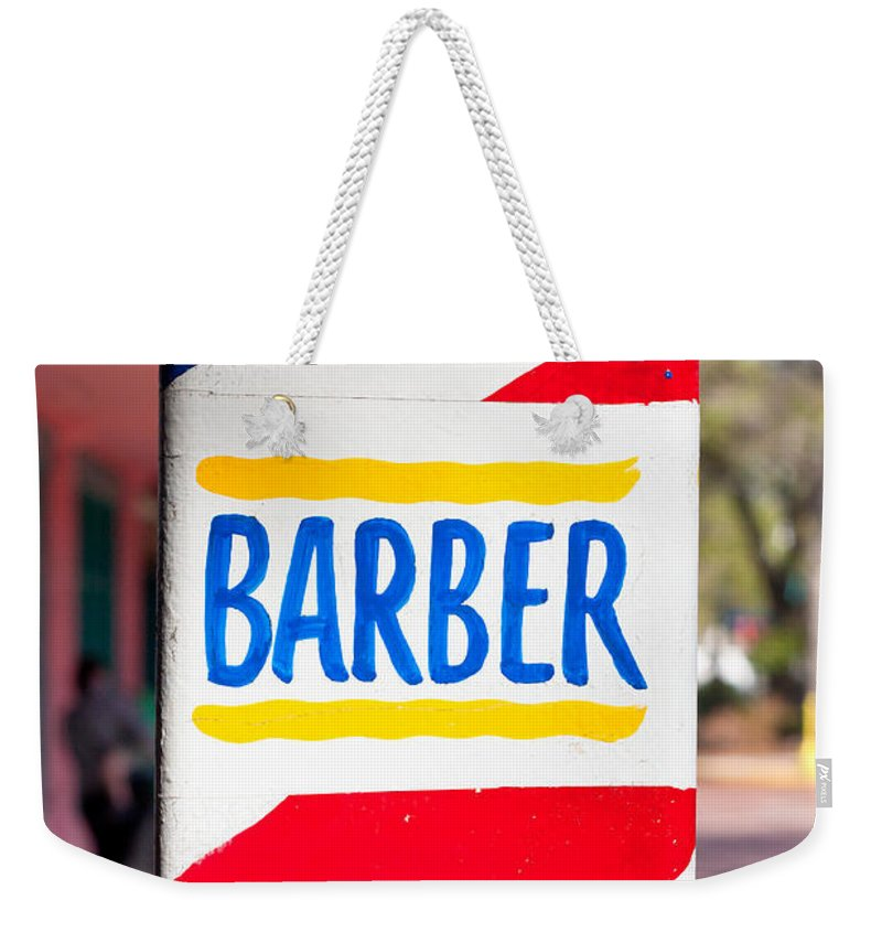 America Weekender Tote Bag featuring the photograph Barber Sign by Tom Gowanlock