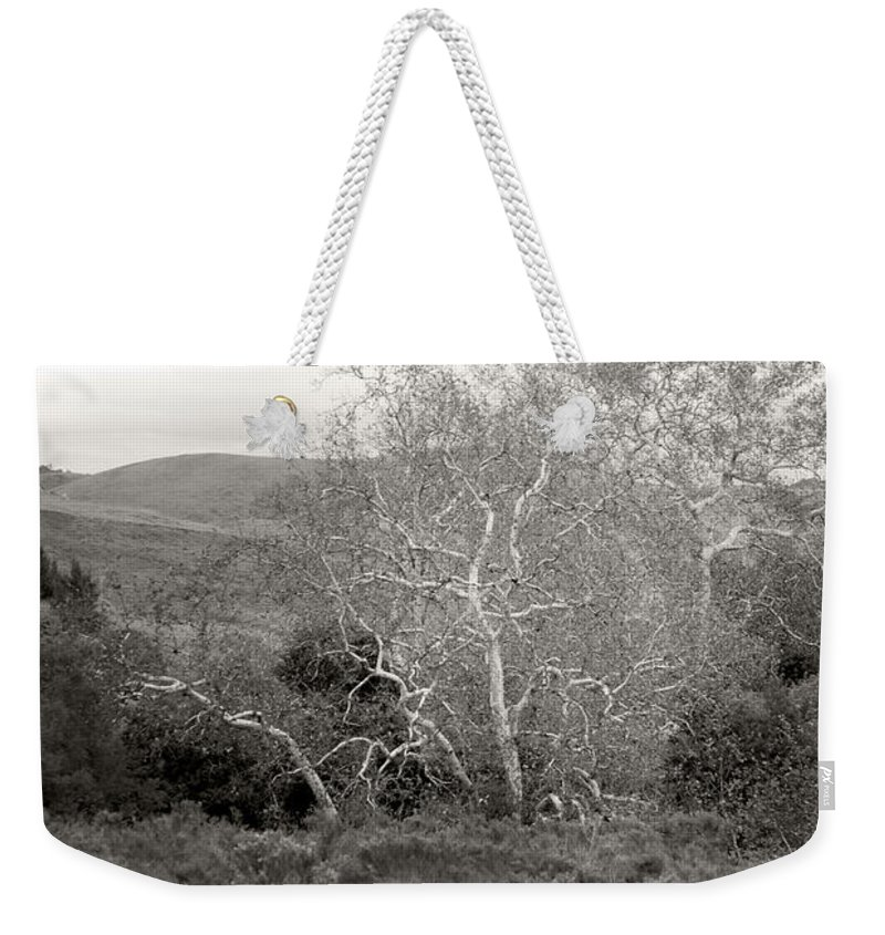 Black And White Weekender Tote Bag featuring the photograph Bare Garden In The Hills by Kathleen Grace