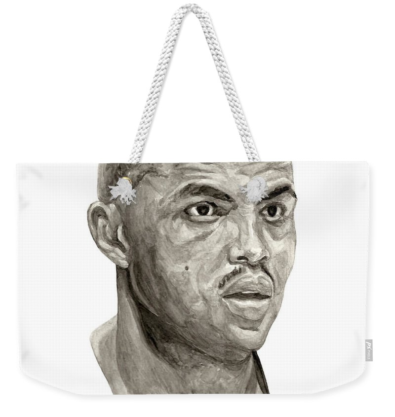Charles Barkley Weekender Tote Bag featuring the painting Barkley by Tamir Barkan
