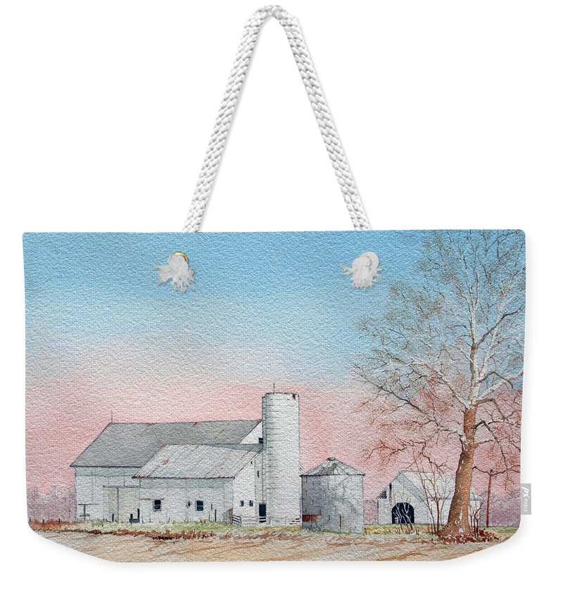 Barn Weekender Tote Bag featuring the painting Barn And Sycamore by Jim Gerkin
