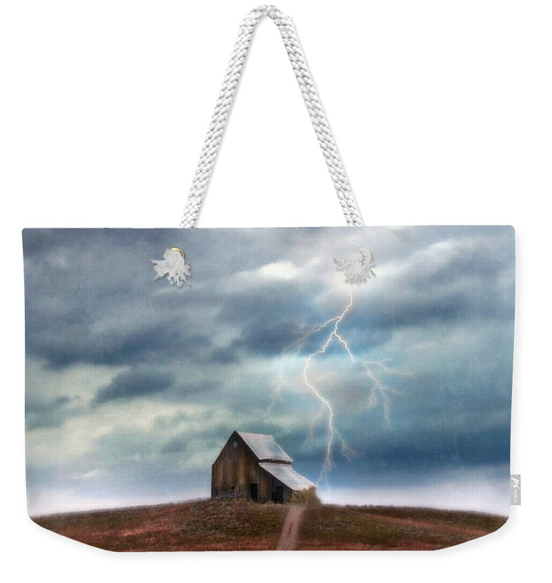 Barn Weekender Tote Bag featuring the photograph Barn In Lightning Storm by Jill Battaglia