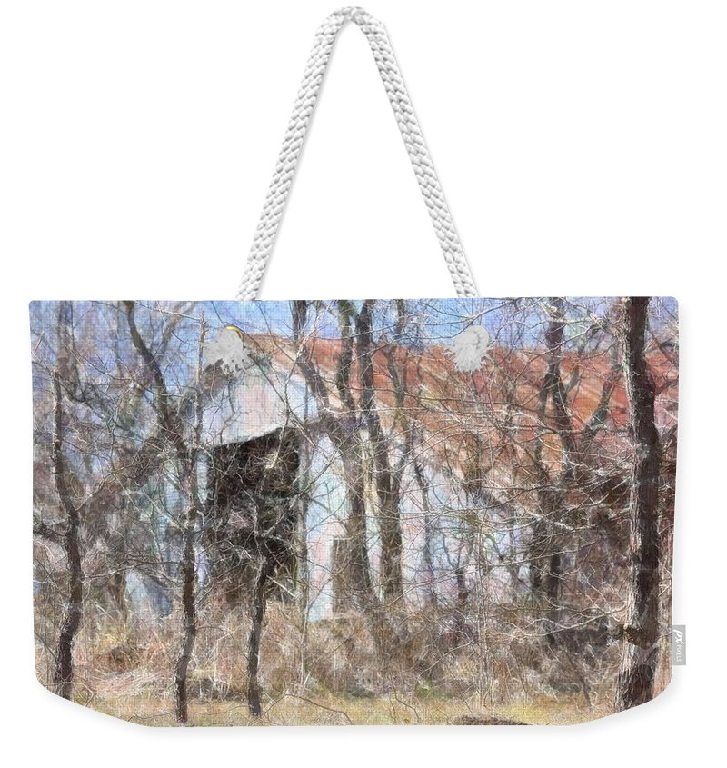 Barn Weekender Tote Bag featuring the photograph Barn Through Trees by Donna G Smith