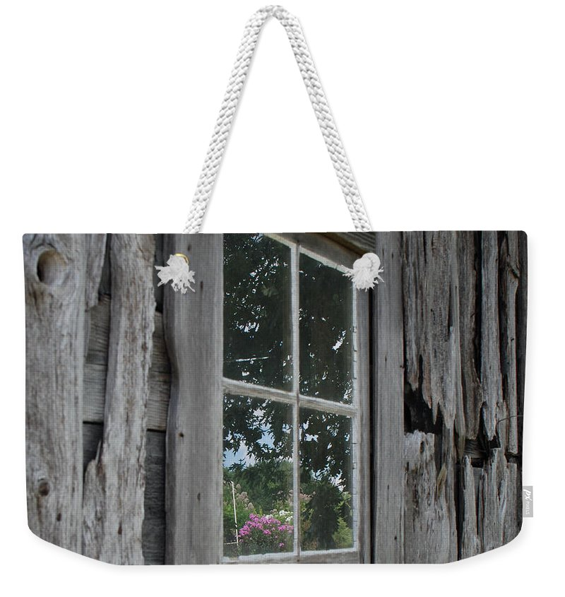 Barn Weekender Tote Bag featuring the photograph Barn Window Reflection by Grace Grogan