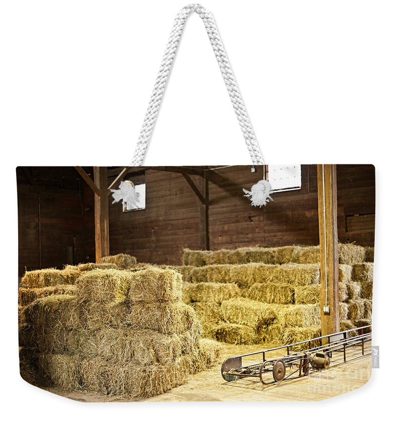 Barn Weekender Tote Bag featuring the photograph Barn With Hay Bales by Elena Elisseeva