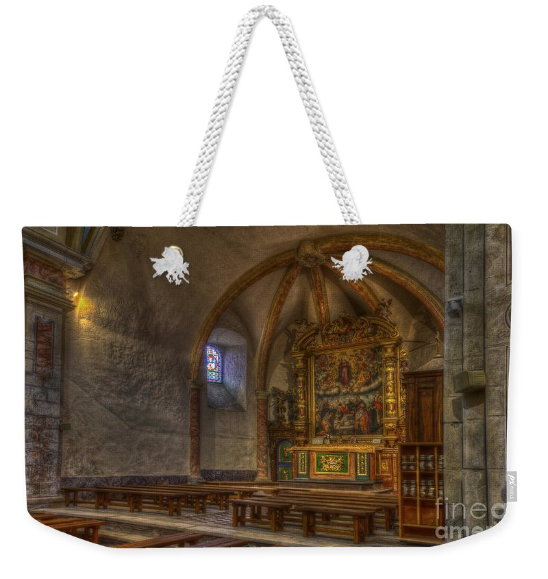Clare Bambers Weekender Tote Bag featuring the photograph Baroque Church In Savoire France 3 by Clare Bambers