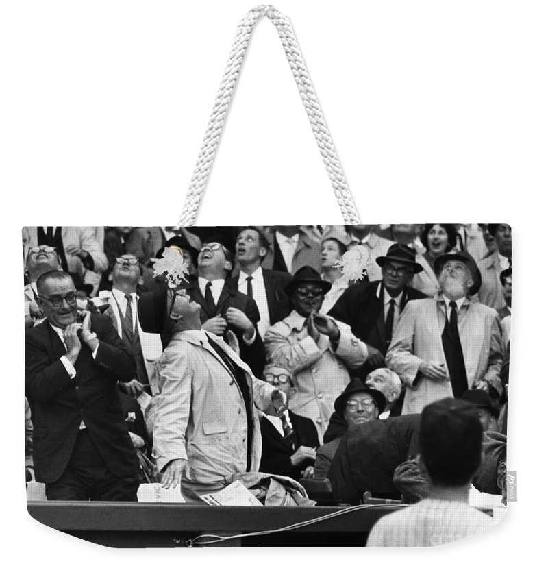 1962 Weekender Tote Bag featuring the photograph Baseball Crowd, 1962 by Granger