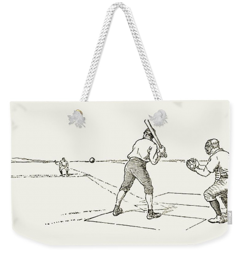 1889 Weekender Tote Bag featuring the photograph Baseball Game, 1889 by Granger
