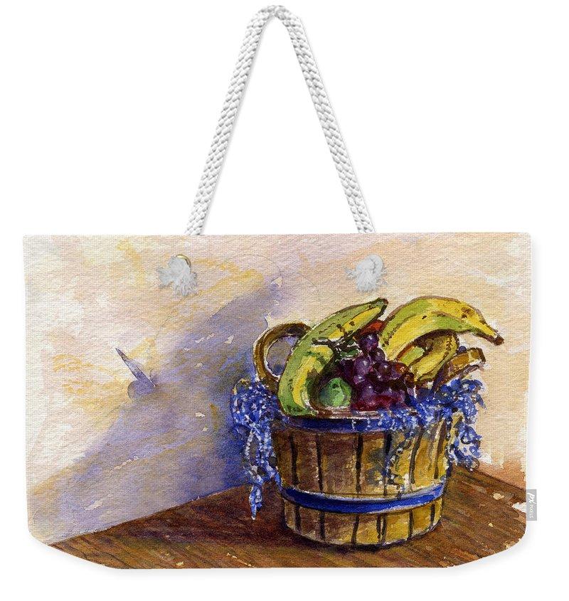 Fruit Weekender Tote Bag featuring the painting Basket Of Fruit by John D Benson