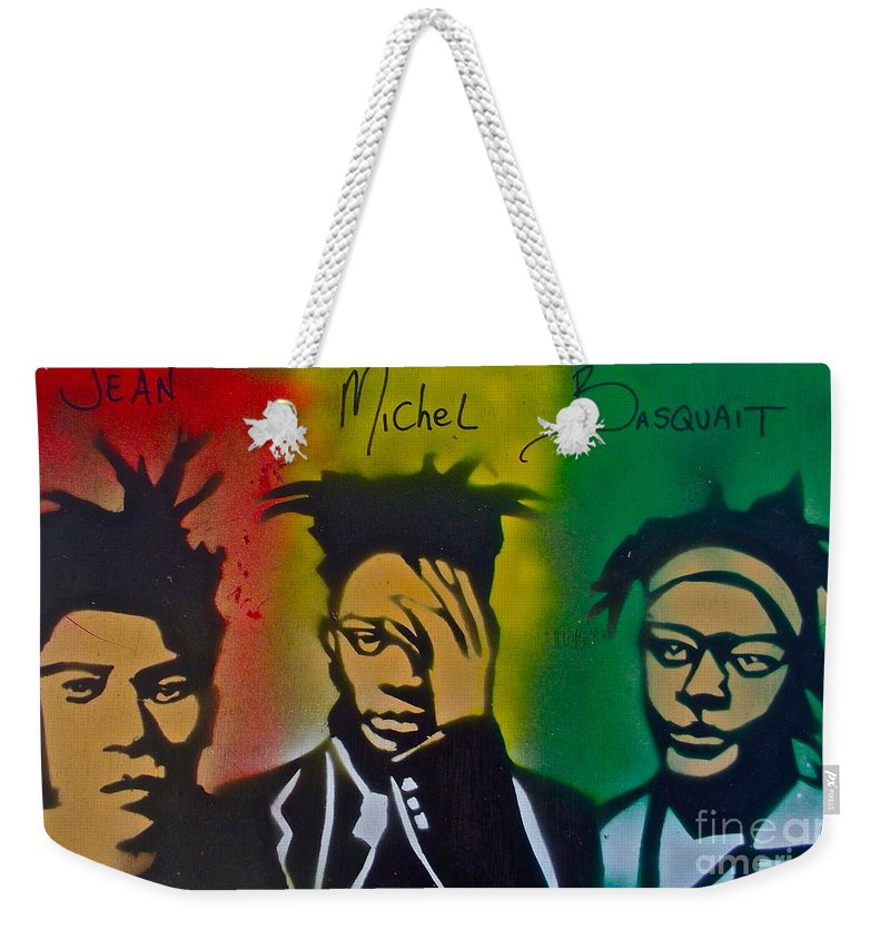 Jean Michel Basquait Weekender Tote Bag featuring the painting Basquait Me Myself And I by Tony B Conscious