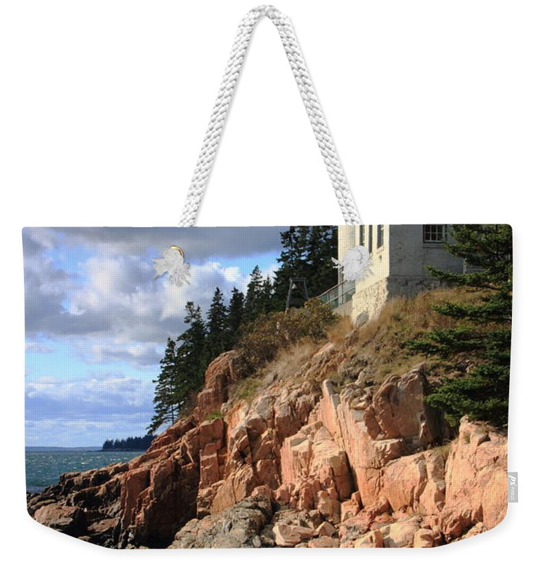 Bass Harbor Head Lighthouse Weekender Tote Bag featuring the photograph Bass Harbor Head Lighthouse by Roupen Baker