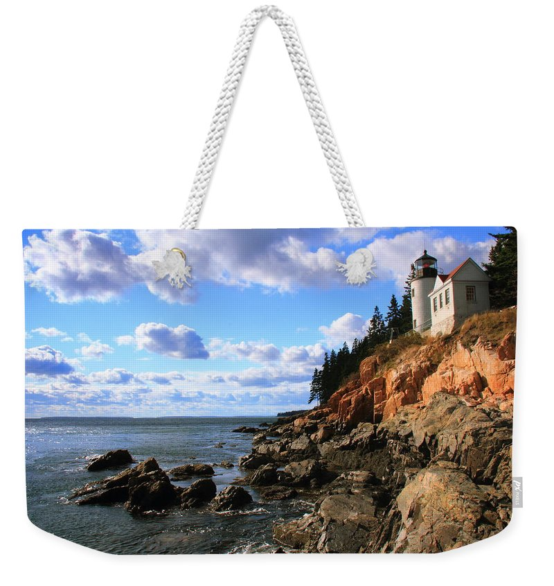 Bass Harbor Head Weekender Tote Bag featuring the photograph Bass Harbor Head Seascape by Roupen Baker
