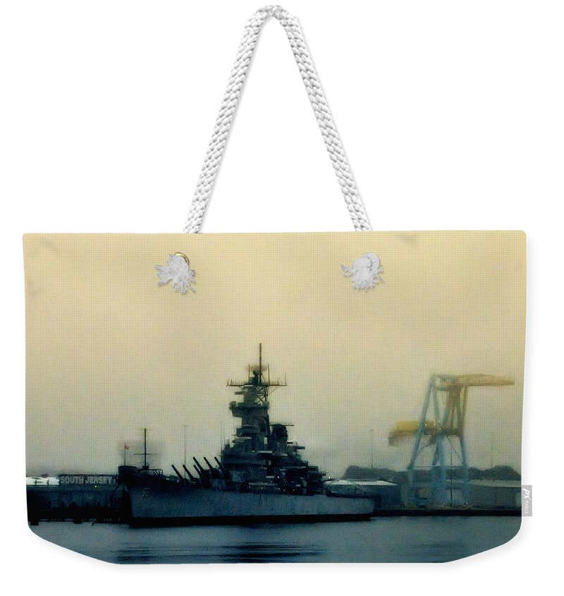 Battleship New Jersey Weekender Tote Bag featuring the photograph Battleship New Jersey by Bill Cannon