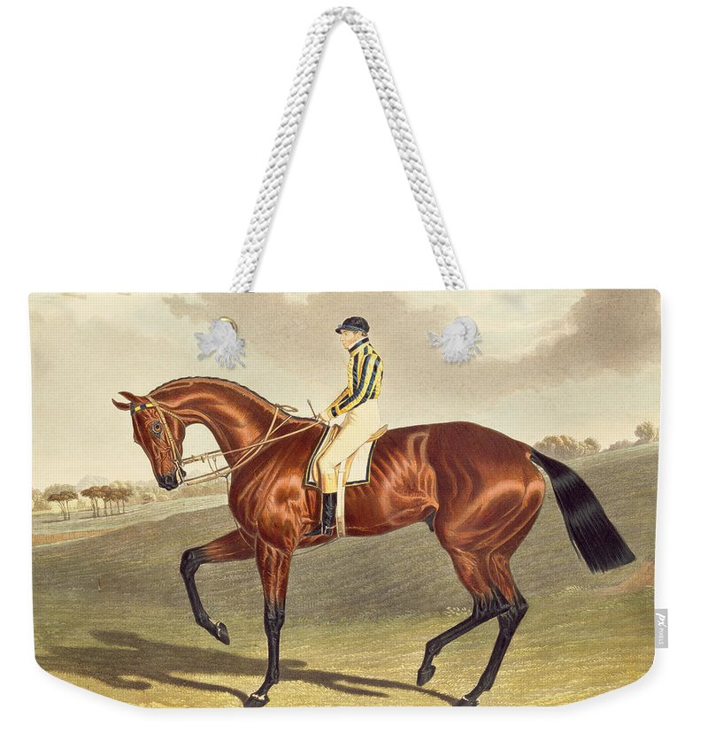 Jockey; Thoroughbred Weekender Tote Bag featuring the painting Bay Middleton Winner Of The Derby In 1836 by John Frederick Herring Snr
